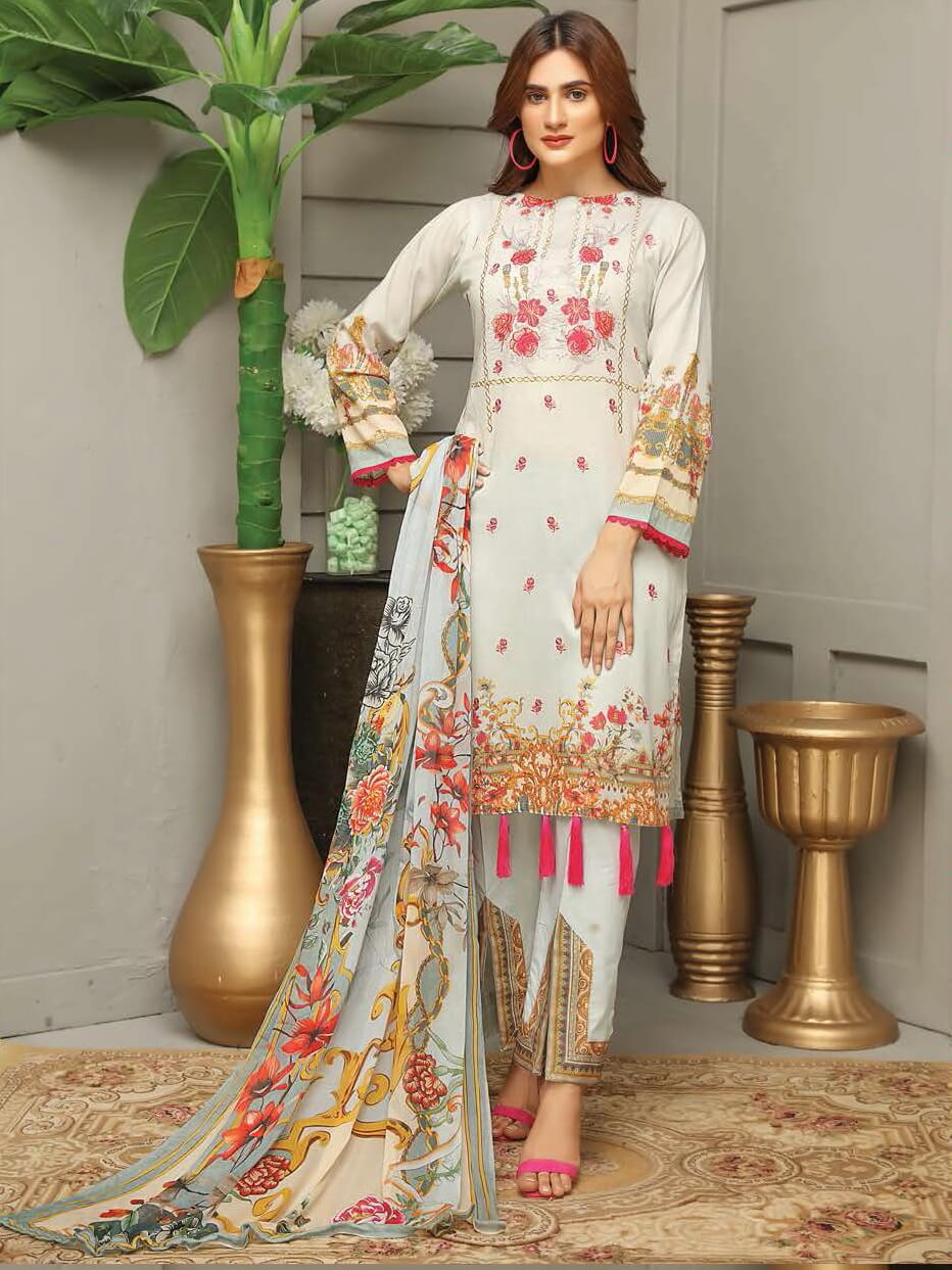 Sanam Saeed Embroidered Masoori Lawn Collection 3PC Suit SS-06 - FaisalFabrics.pk