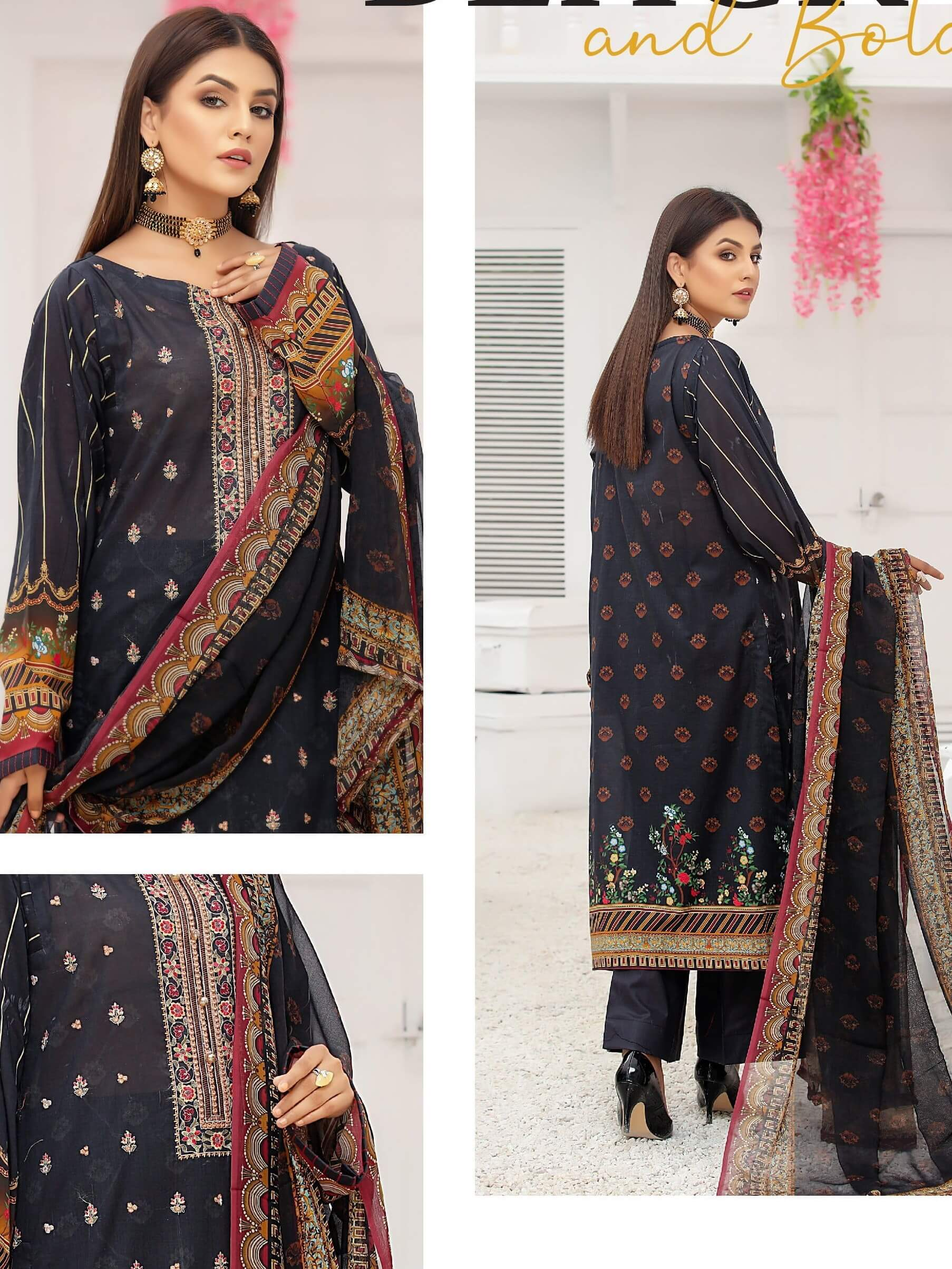 Sanam Saeed Embroidered Eid Lawn Unstitched 3 PCS Suit D-04