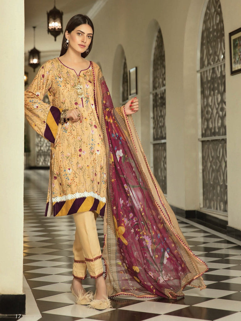 Shaista Luxury Linen 2019 Unstitched Embroidered 3 Piece Suit W-5 - FaisalFabrics.pk