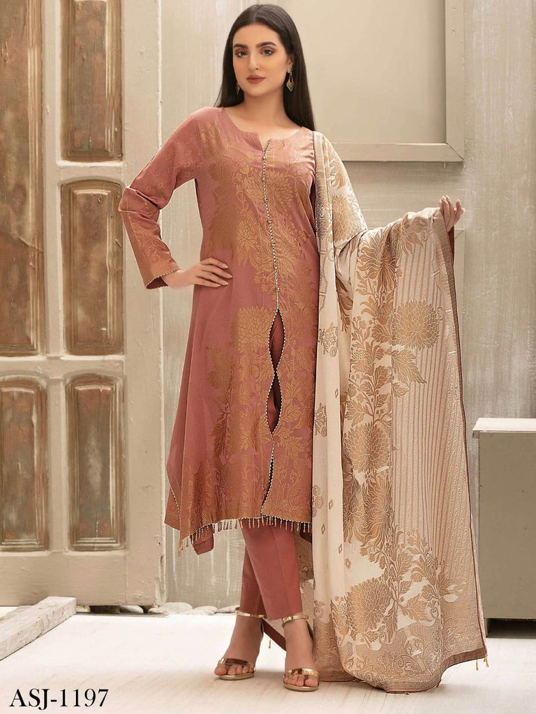 Tawakkal Fabrics Jacquard Banarsi Lawn 3PC Suit Eid Collection D-1197 - FaisalFabrics.pk