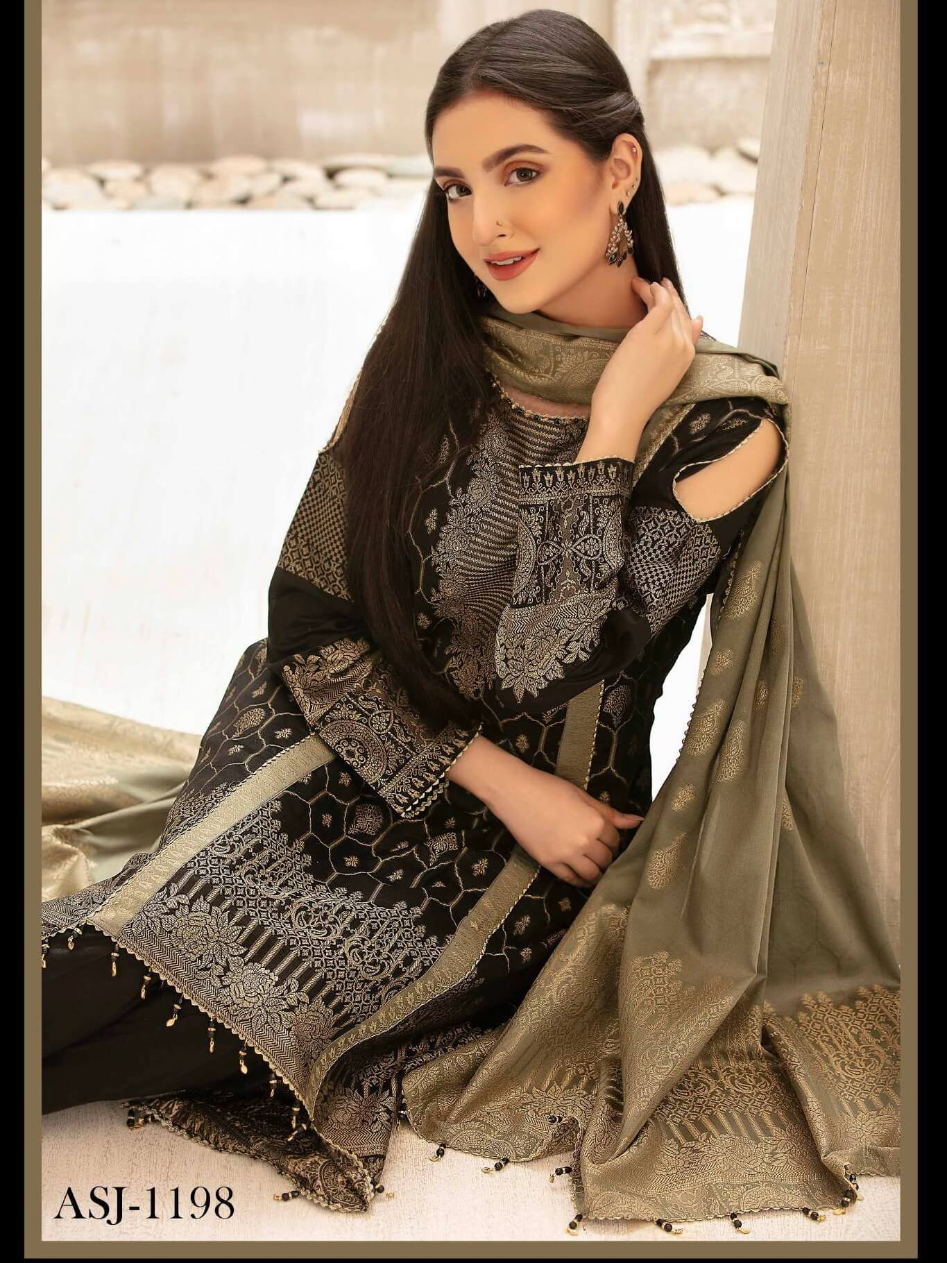 Tawakkal Fabrics Jacquard Banarsi Lawn 3PC Suit Eid Collection D-1198 - FaisalFabrics.pk