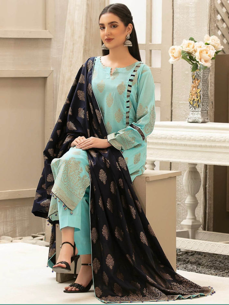 Tawakkal Fabrics Jacquard Banarsi Lawn 3PC Suit Eid Collection D-1200 - FaisalFabrics.pk