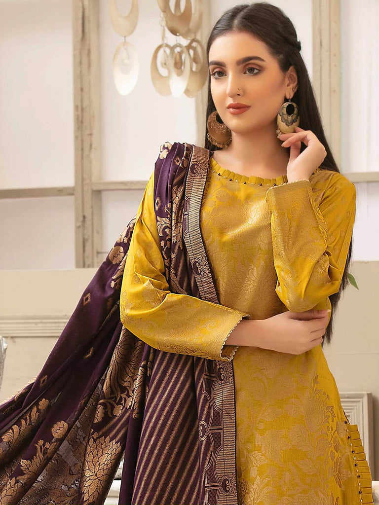 Tawakkal Fabrics Jacquard Banarsi Lawn 3PC Suit Eid Collection D-1201 - FaisalFabrics.pk