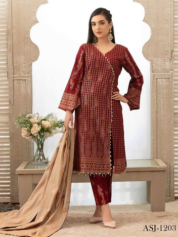 Tawakkal Fabrics Jacquard Banarsi Lawn 3PC Suit Eid Collection D-1203 - FaisalFabrics.pk