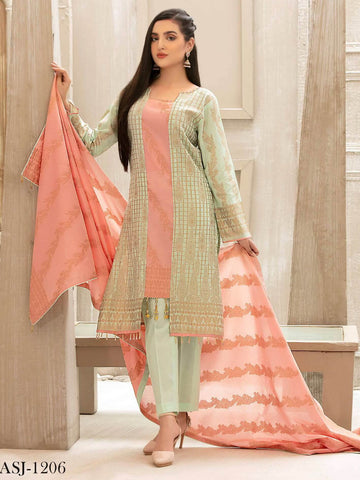 Tawakkal Fabrics Jacquard Banarsi Lawn 3PC Suit Eid Collection D-1206 - FaisalFabrics.pk