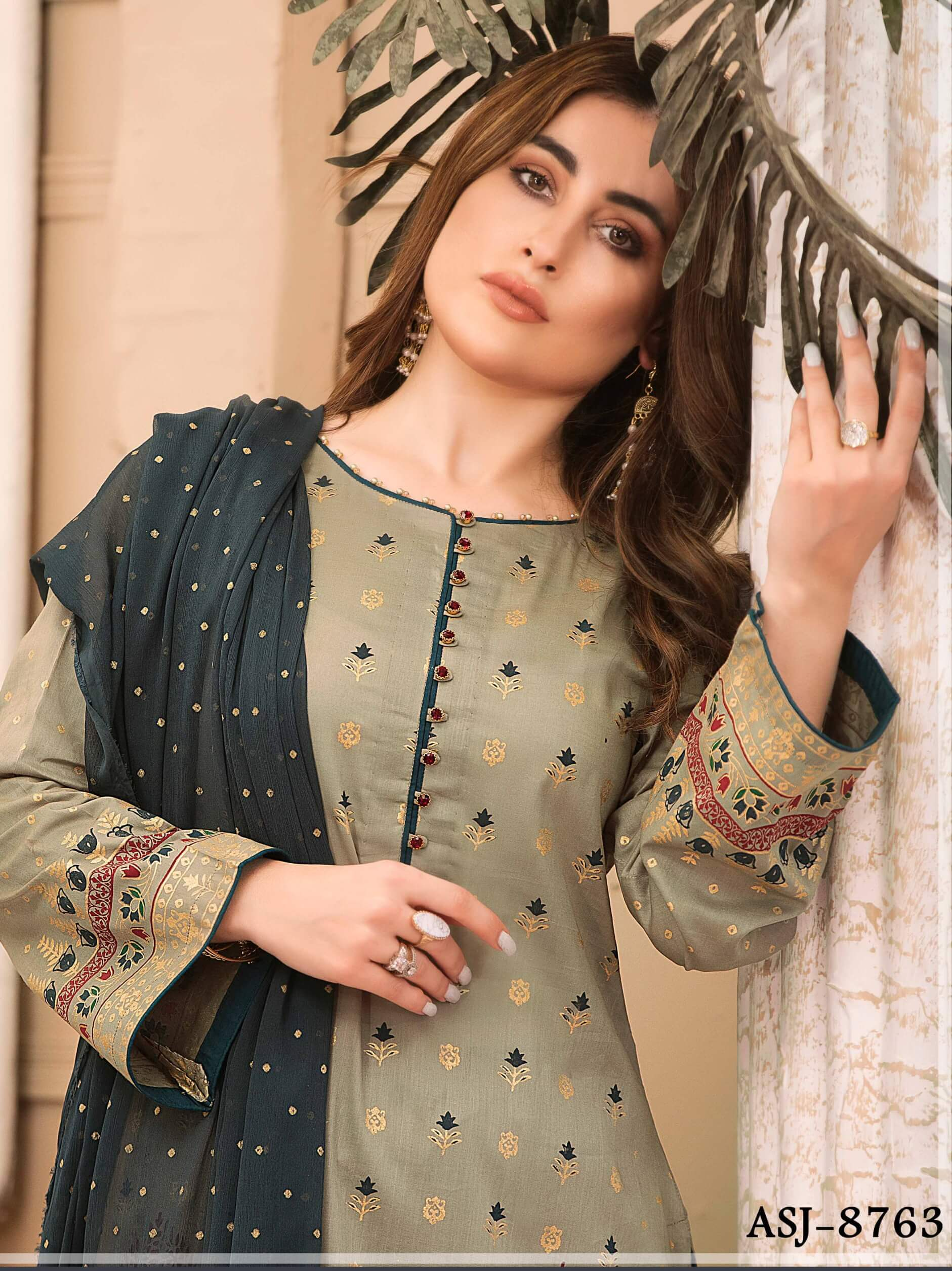 Amna Sohail Banarsi Lawn Gold Pearl Print Collection 3PC Suit ASJ-8763 - FaisalFabrics.pk