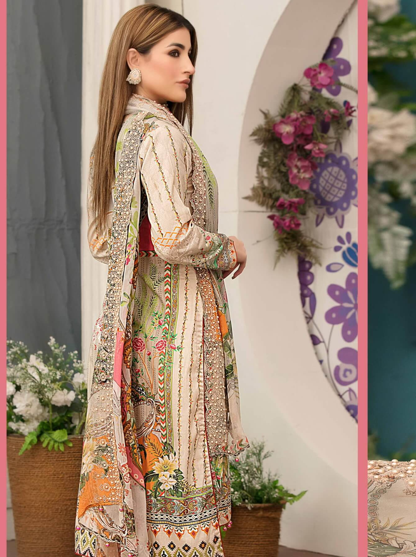 TAWAKKAL Fabrics Hand Work Embroidered Lawn 3PC Suit D-8796 - FaisalFabrics.pk