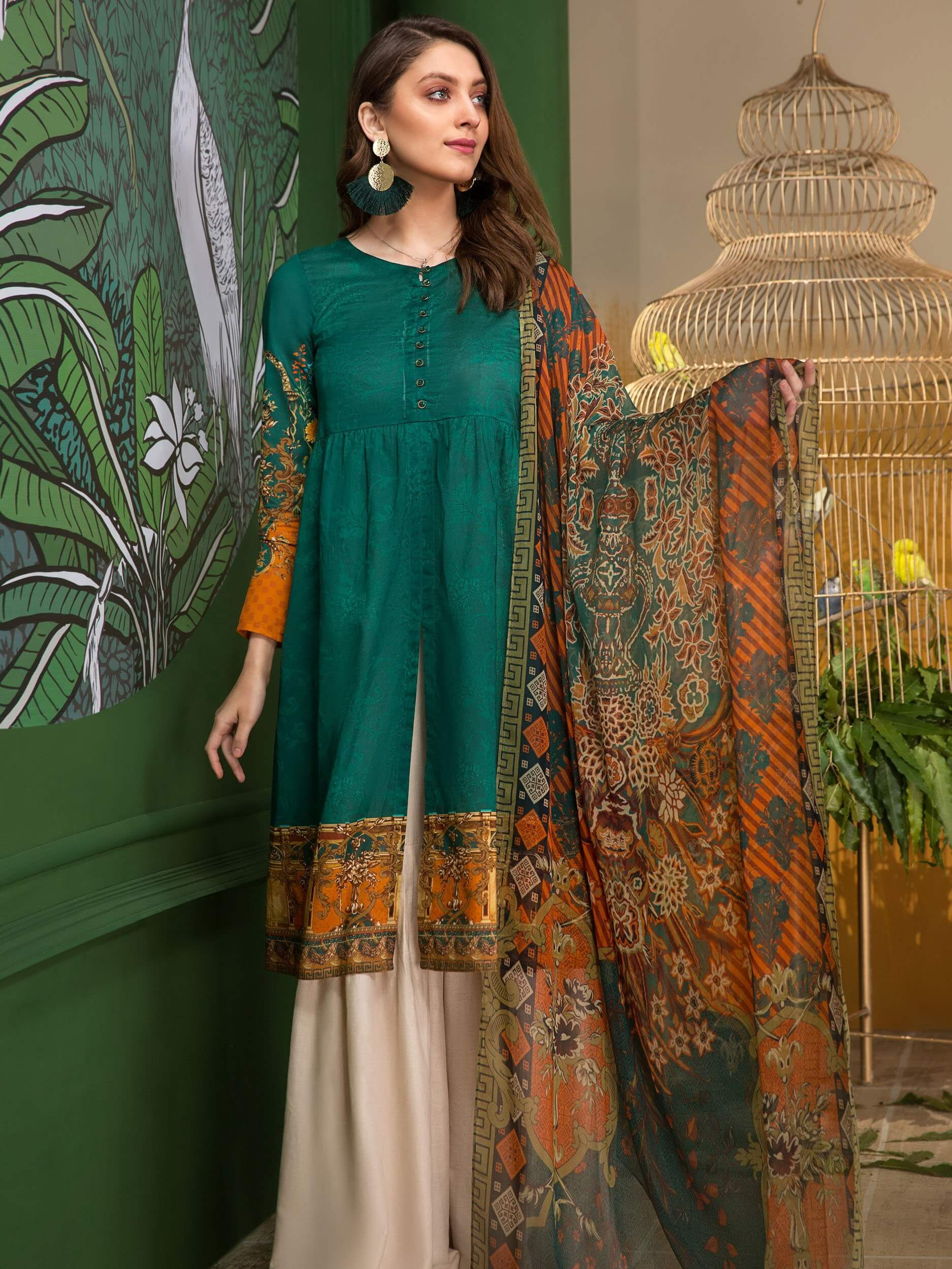 LimeLight Printed Lawn Unstitched 2PC Suit Summer 2019 U0612 Green - FaisalFabrics.pk