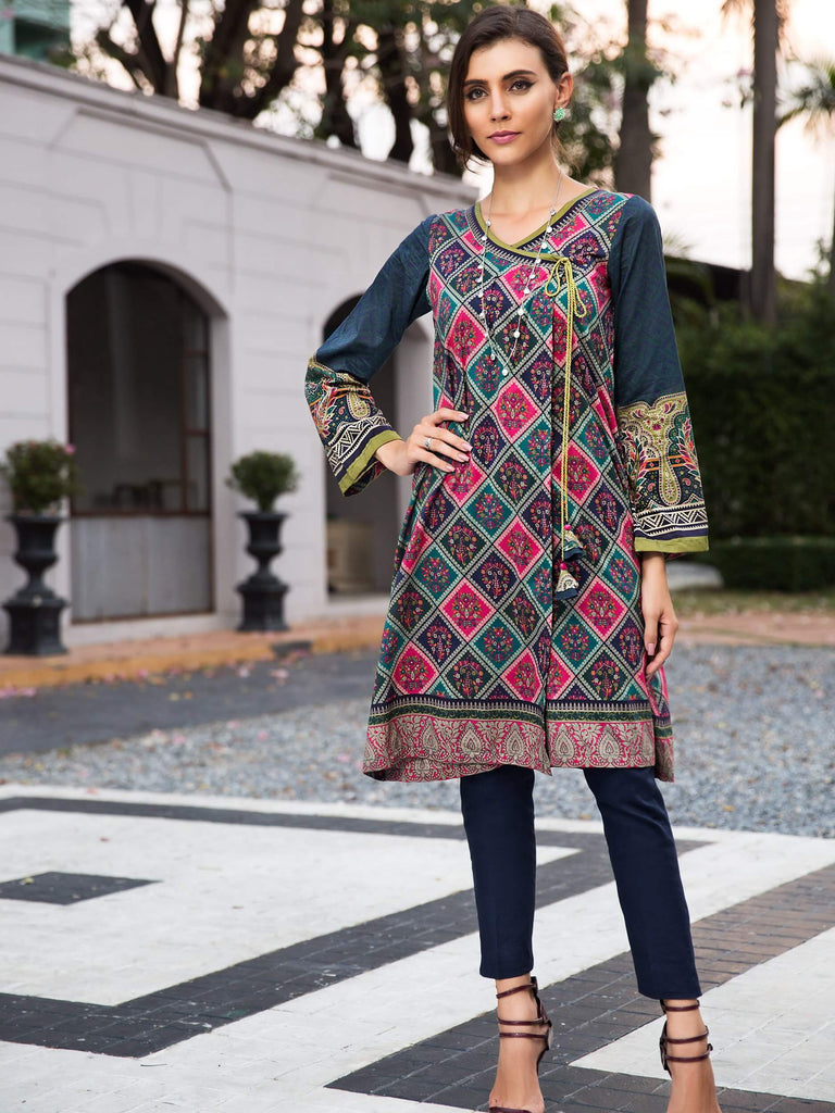 LimeLight Printed Eid Lawn Unstitched 2PC Suit Summer 2019 U0694 Green - FaisalFabrics.pk