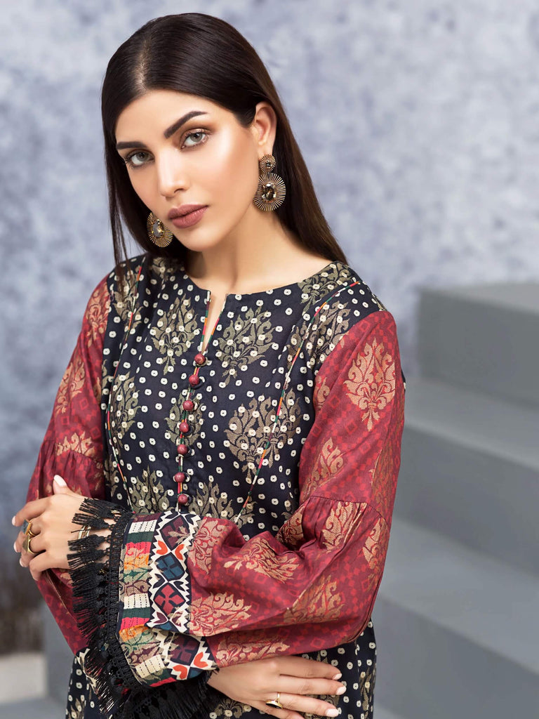 Limelight Winter Jacquard Shirt U0992 BLACK Winter Collection 2019 - FaisalFabrics.pk