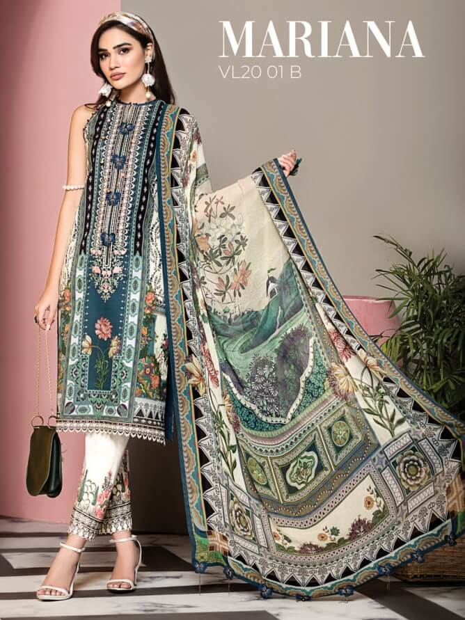 ANAYA By Kiran Chaudhry VIVA Lawn 2020 Embroidered 3PC Suit VL20-01B - FaisalFabrics.pk