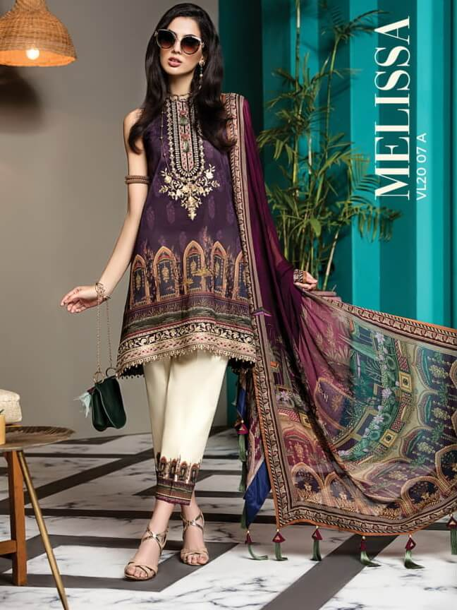 ANAYA By Kiran Chaudhry VIVA Lawn 2020 Embroidered 3PC Suit VL20-07A - FaisalFabrics.pk