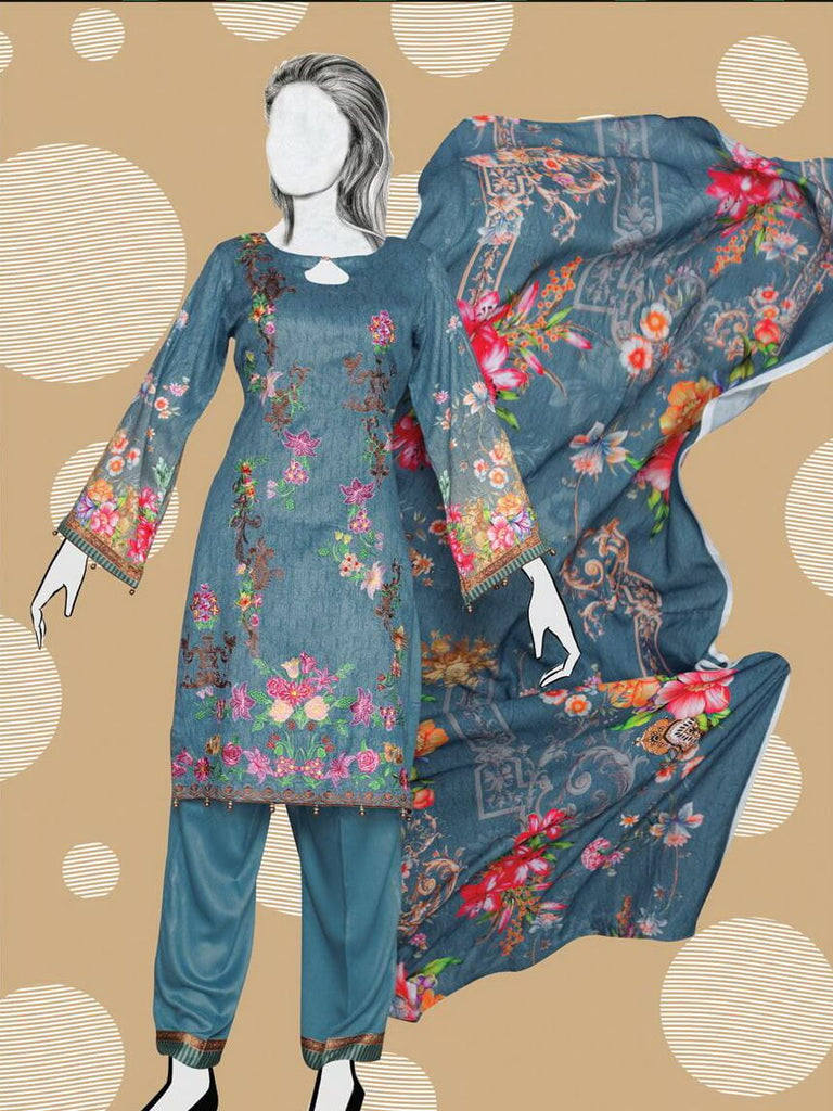 Digital Cottel Linen Embroidered Unstitched 3Pc Suit WE-1089 - FaisalFabrics.pk