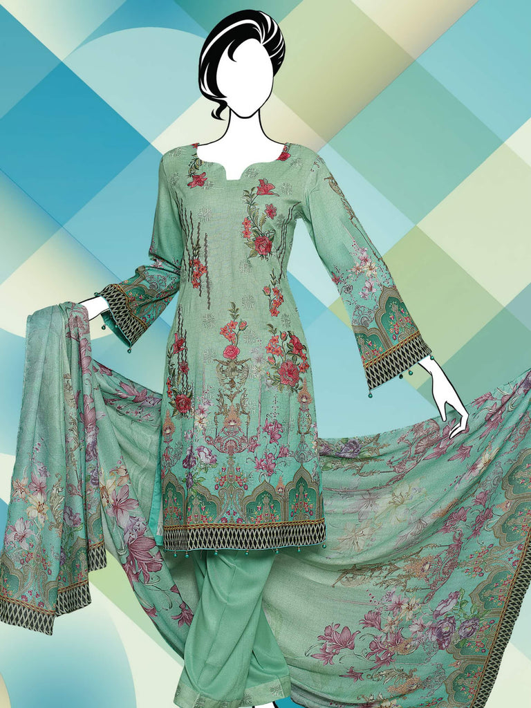 Poshak Embroidered Pashmina with Shawl 3 Piece Suit WE-1188