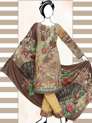 Falak Khaddar Embroidered Unstitched 3 Piece Suit WE-1220