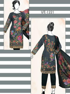 Falak Khaddar Embroidered Unstitched 3 Piece Suit WE-1221