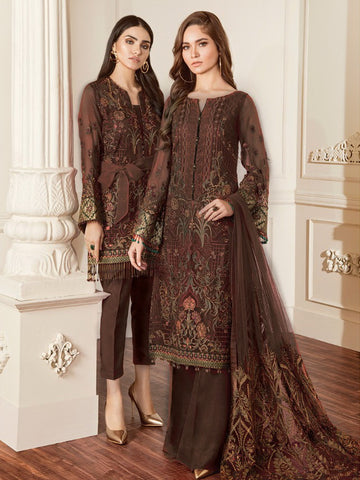 Baroque Chantelle Embroidered Chiffon 3 Piece Suit BQC-06 DAMASK BROWN