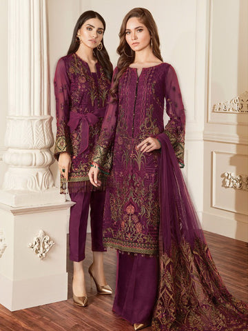 Baroque Chantelle Embroidered Chiffon 3 Piece Suit BQC-06 DAMASK MAGENTA