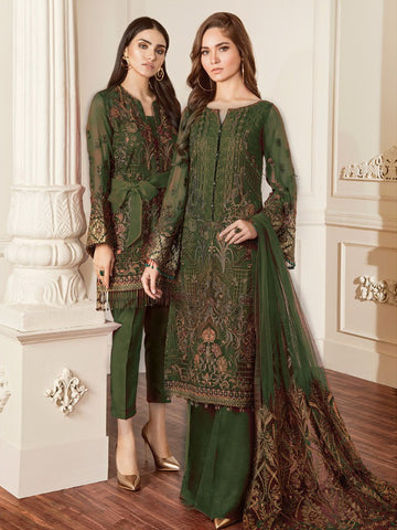 Baroque Chantelle Embroidered Chiffon 3 Piece Suit BQC-06 DAMASK GREEN