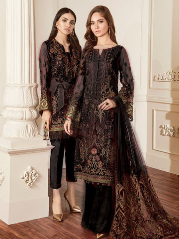 Baroque Chantelle Embroidered Chiffon 3 Piece Suit BQC-06 DAMASK BLACK