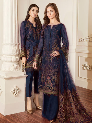 Baroque Chantelle Embroidered Chiffon 3 Piece Suit BQC-06 DAMASK NAVY