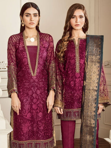 Baroque Chantelle Embroidered Chiffon 3 Piece Suit BQC-10 AMETHST PINK