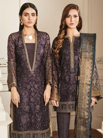 Baroque Chantelle Embroidered Chiffon 3 Piece Suit BQC-10 AMETHST GREY