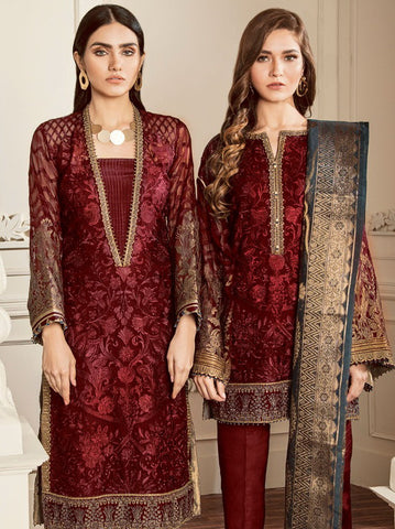 Baroque Chantelle Embroidered Chiffon 3 Piece Suit BQC-10 AMETHST RED
