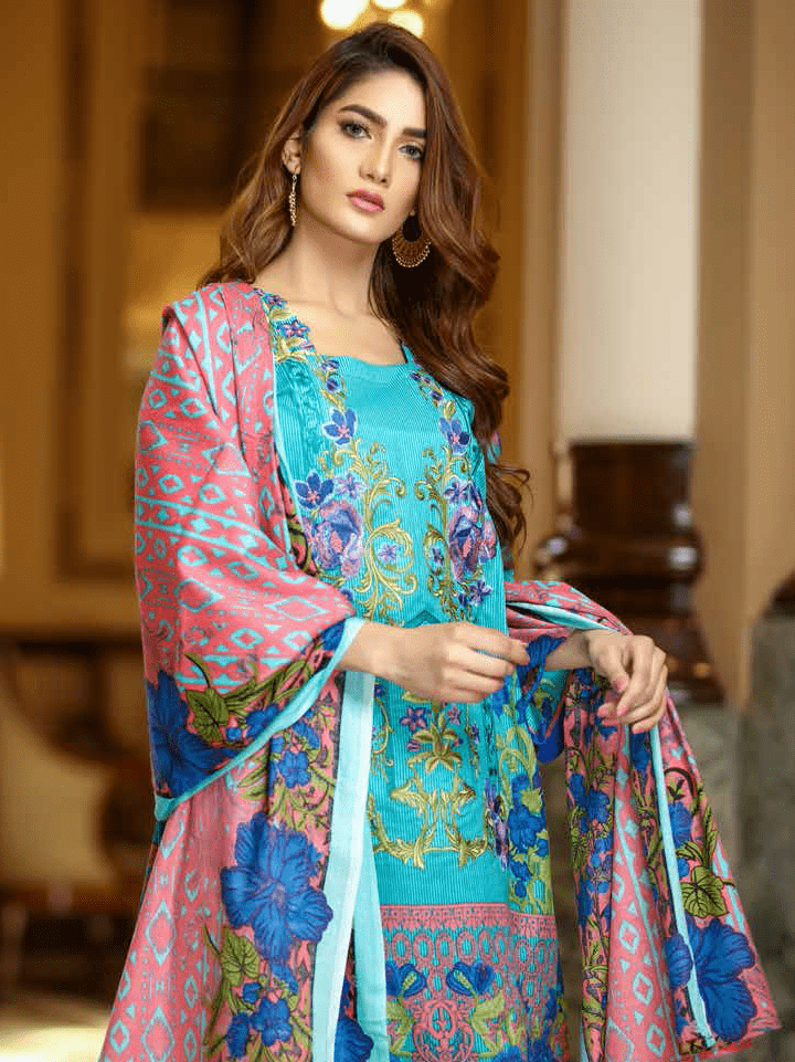 Yashfeen Premium Lawn 2019 Embroidered 3 Piece Suit YS-904/B - FaisalFabrics.pk