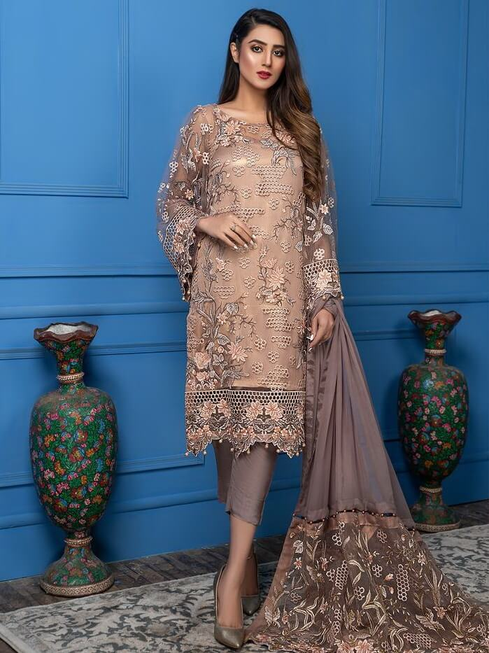 Akbar Aslam Luxury Chiffon Collection 2020 3pc Suit AAC-1104 ZINNIA - FaisalFabrics.pk