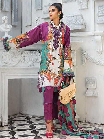 ZAHA Lawn Spring Summer 2020 2PC Embroidered Lawn Suit ZL20-02 Azalea