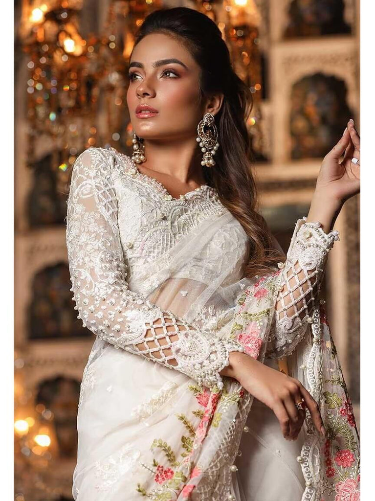 MARIA.B Mbroidered Eid Collection 2019 Pearl White BD 1703 - FaisalFabrics.pk