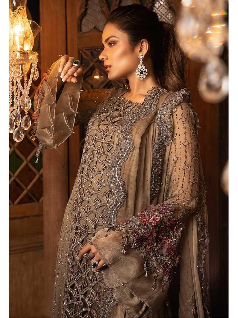 Maria.B - MARIA.B Mbroidered Eid Collection 2019 Cappuccino Grey & Lilac BD 1704 - faisalfabrics-pk