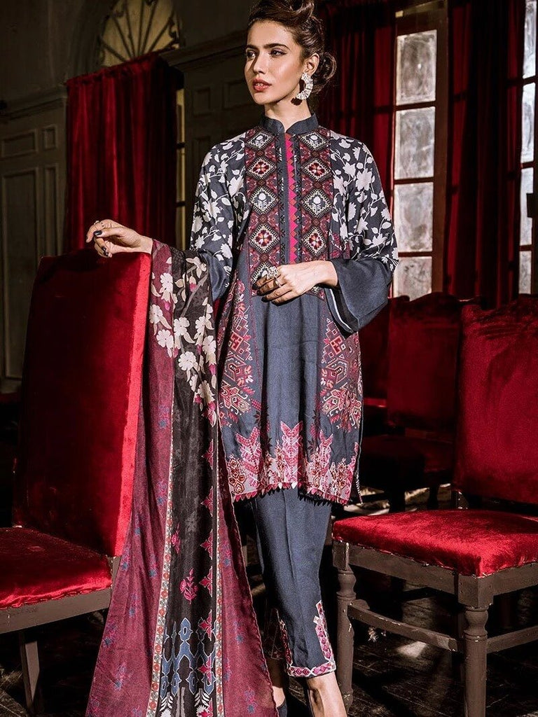 Cross Stitch Linen Embroidered 3PC Suit BLISSFUL TRIBE Winter Collection'19 - FaisalFabrics.pk