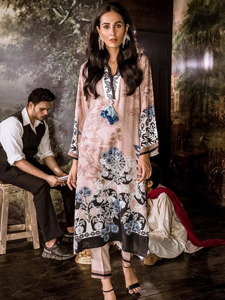 Cross Stitch Linen 2PC Embroidered Suit LAPIS BLUE Winter Collection'19