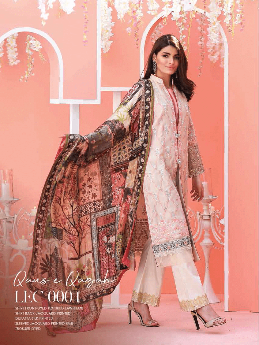 Lakhany Exclusive Embroidered Lawn 2019 Unstitched 3PC Suit LEC 0004 - FaisalFabrics.pk