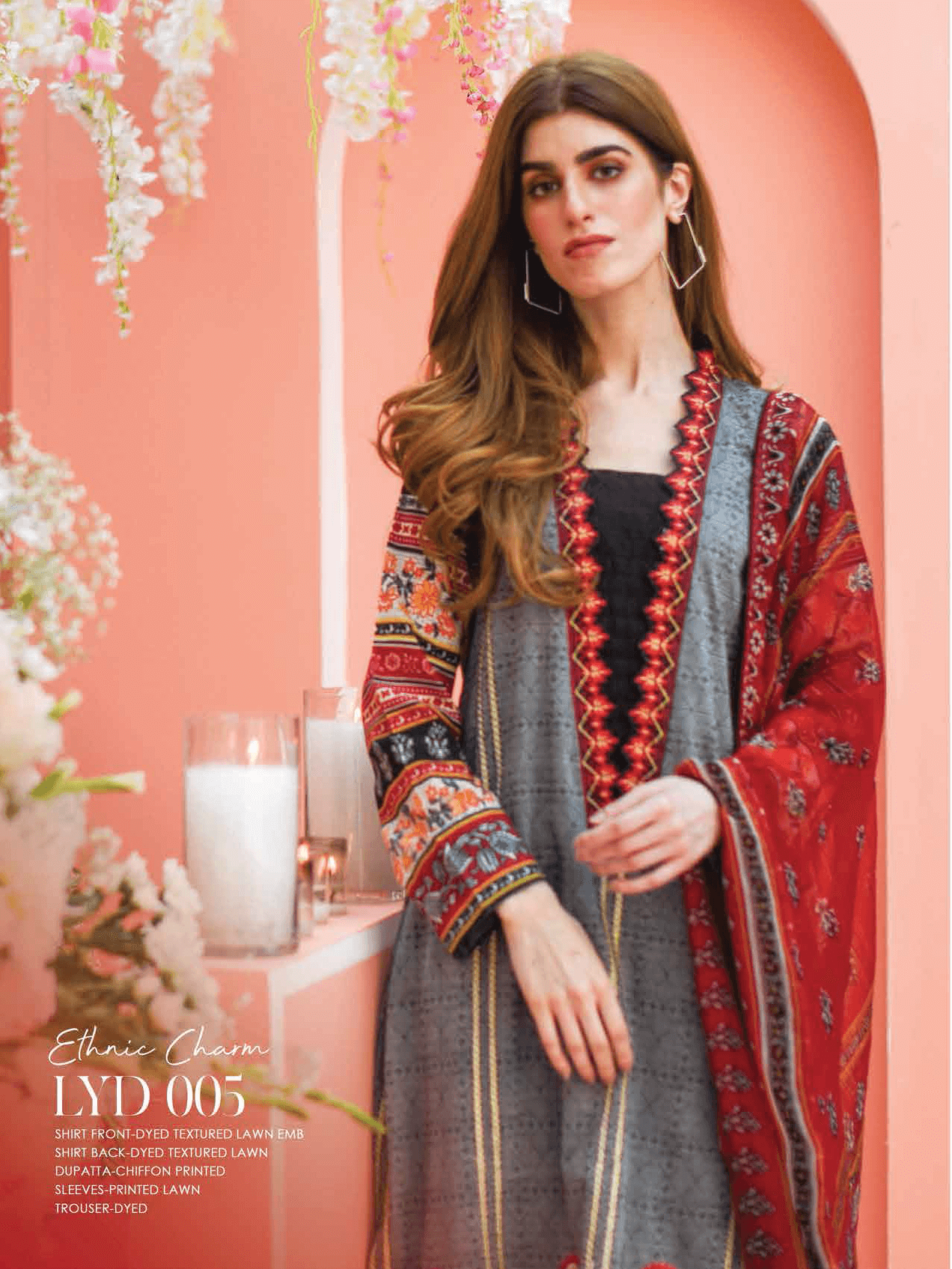 Lakhany Luxury Embroidered Lawn 2019 Unstitched 3PC Suit LYD 005 - FaisalFabrics.pk