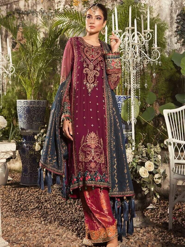 59d0c0d18d MARIA.B Mbroidered Eid Collection 2019 Deep Magenta and Teal BD 1605 ...