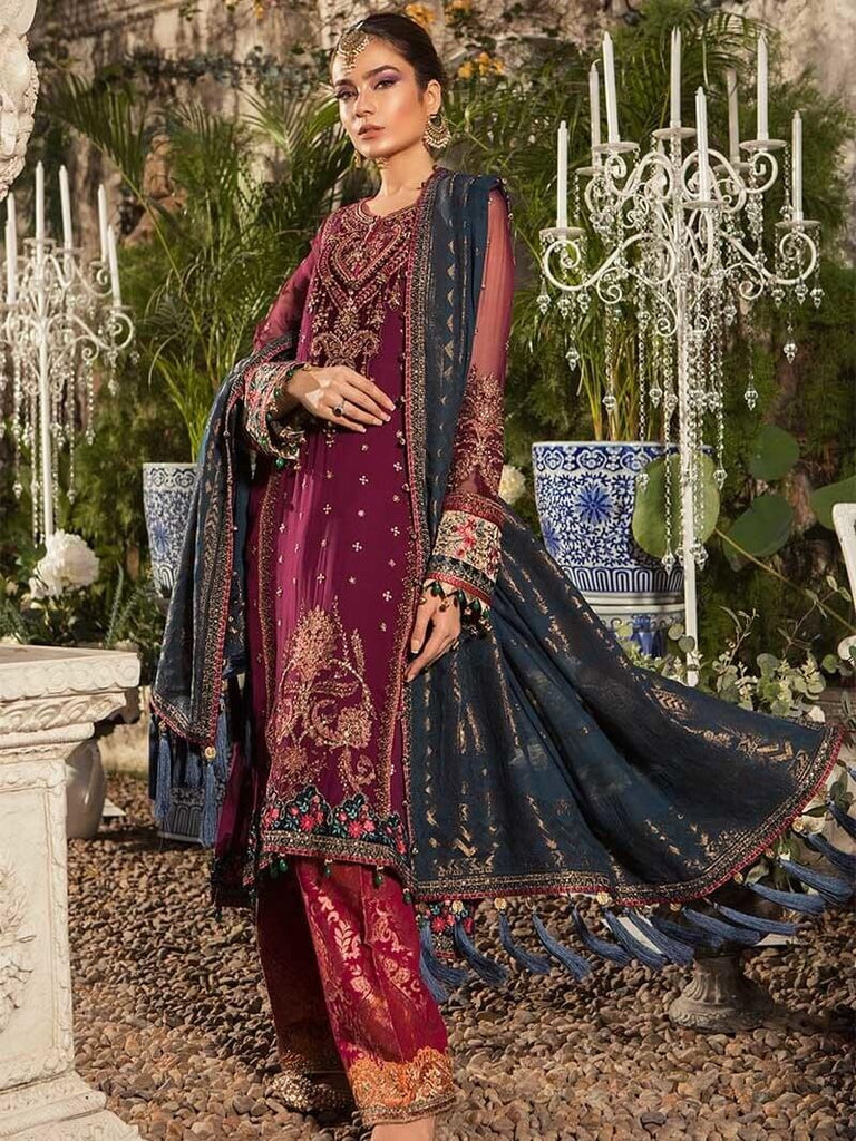 mariab mbroidered eid collection 2019 deep magenta and