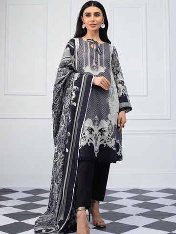 Salina by Regalia Textiles Black & White Printed Lawn 3pc Suit BW-01 - FaisalFabrics.pk