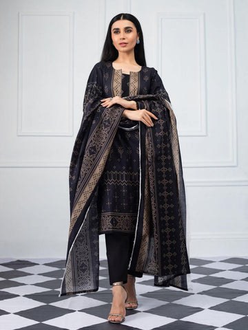 Salina by Regalia Textiles Black & White Printed Lawn 3pc Suit BW-02 - FaisalFabrics.pk