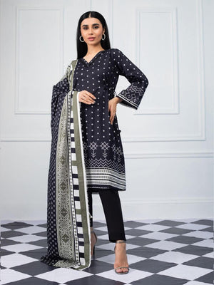 Salina by Regalia Textiles Black & White Printed Lawn 3pc Suit BW-03