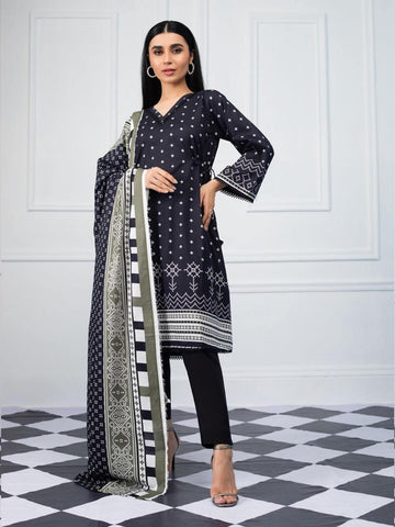 Salina by Regalia Textiles Black & White Printed Lawn 3pc Suit BW-03 - FaisalFabrics.pk