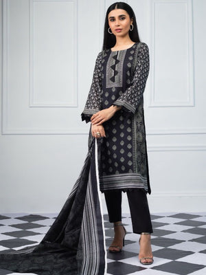Salina by Regalia Textiles Black & White Printed Lawn 3pc Suit BW-04