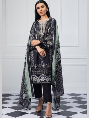 Salina by Regalia Textiles Black & White Printed Lawn 3pc Suit BW-05
