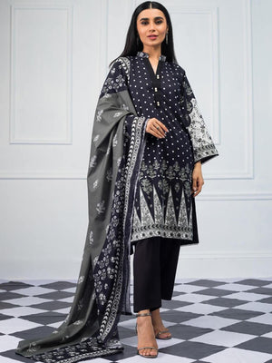 Salina by Regalia Textiles Black & White Printed Lawn 3pc Suit BW-07