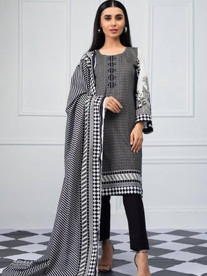 Salina by Regalia Textiles Black & White Printed Lawn 3pc Suit BW-08