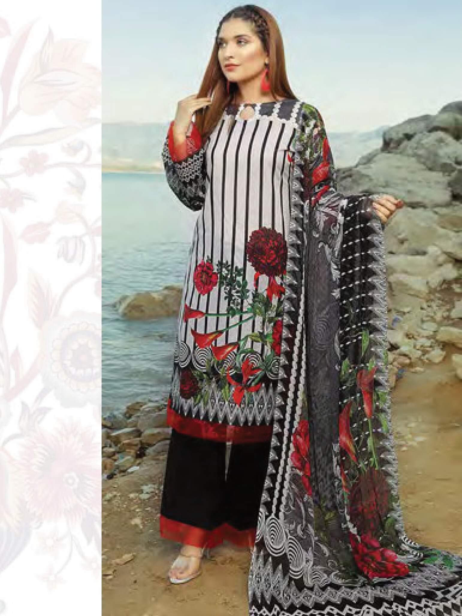 Shazmeen Printed Lawn Collection 3PC lawn Print Suit D-02 - FaisalFabrics.pk