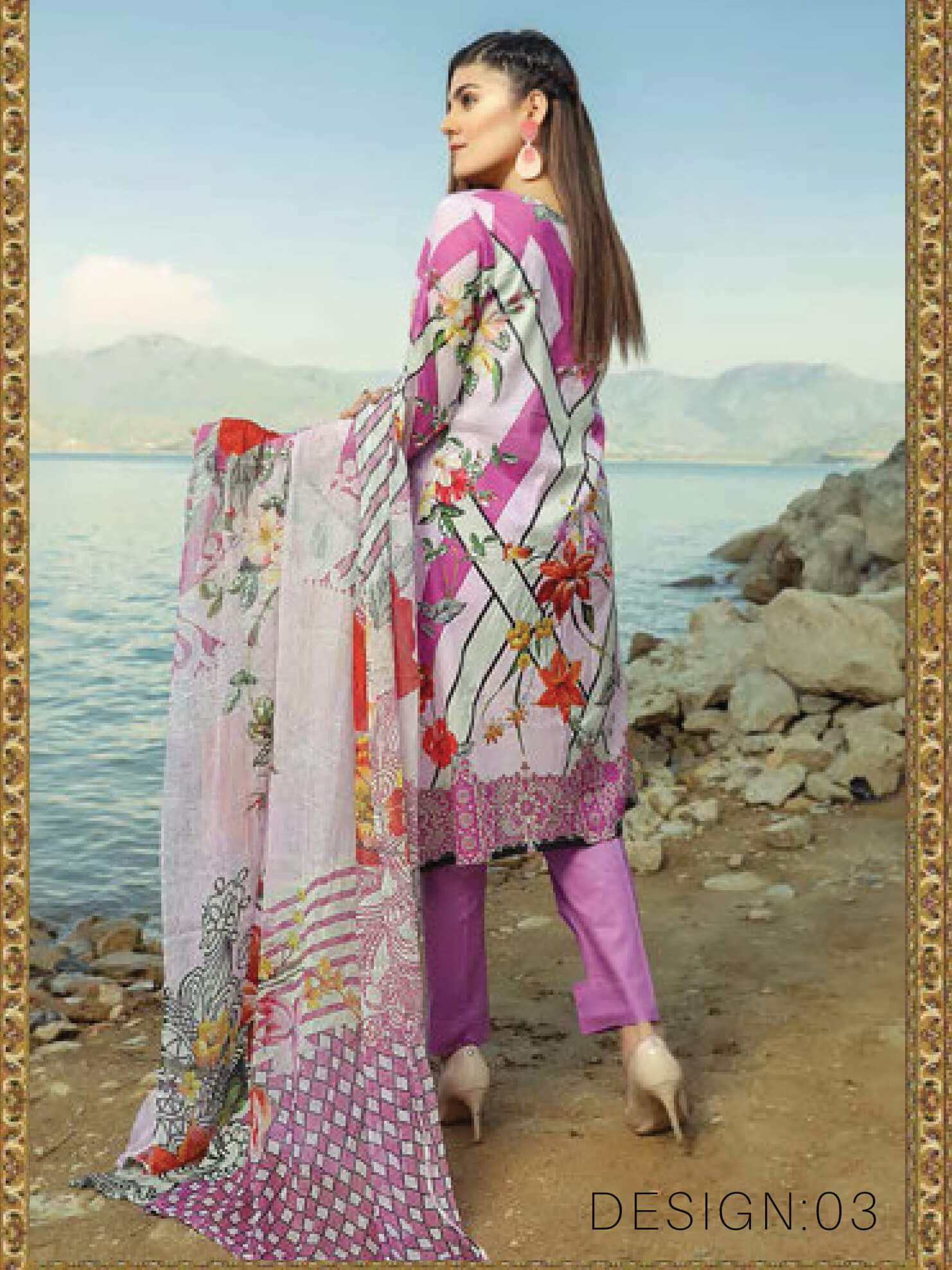 Shazmeen Printed Lawn Collection 3PC lawn Print Suit D-03 - FaisalFabrics.pk