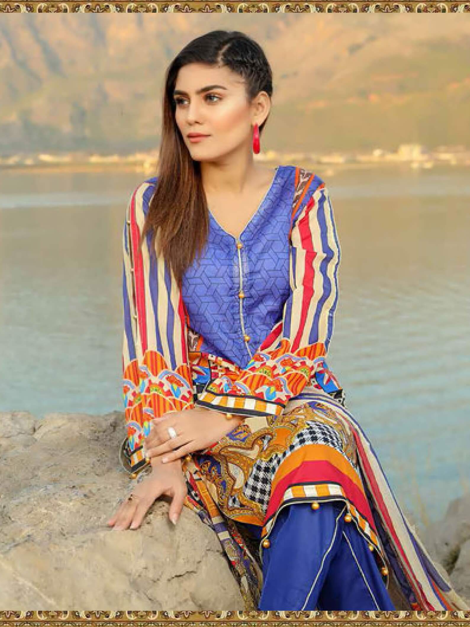 Shazmeen Printed Lawn Collection 3PC lawn Print Suit D-13 - FaisalFabrics.pk